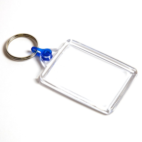 C102-CS Rectangular Blank Plastic Cross Stitch Insert Keyring with Blue Connector - 50 x 35mm