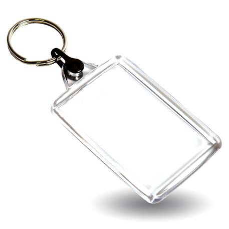 C102-CS Rectangular Blank Plastic Cross Stitch Insert Keyring with Black Connector - 50 x 35mm Thumbnail