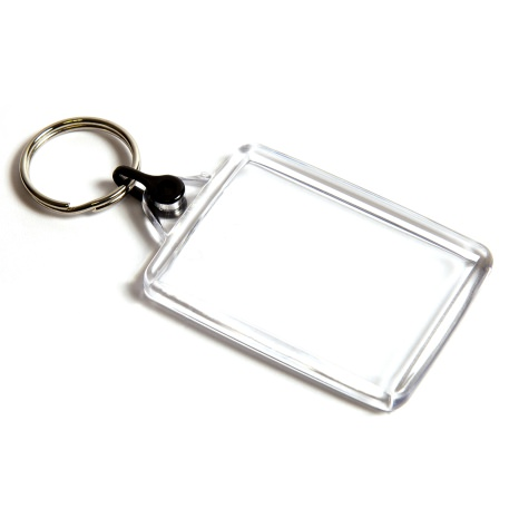 C102-CS Rectangular Blank Plastic Cross Stitch Insert Keyring with Black Connector - 50 x 35mm