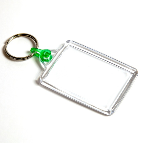 C102-CS Rectangular Blank Plastic Cross Stitch Insert Keyring with Green Connector - 50 x 35mm
