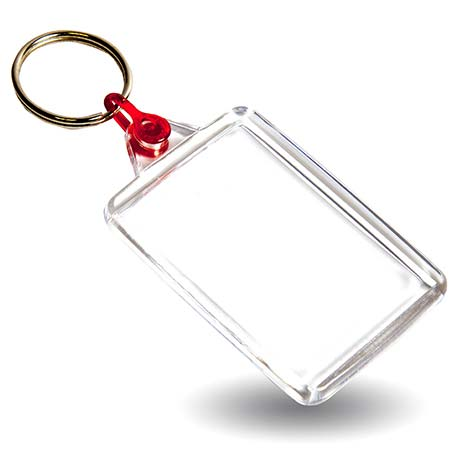 C102-CS Rectangular Blank Plastic Cross Stitch Insert Keyring with Red Connector - 50 x 35mm Thumbnail