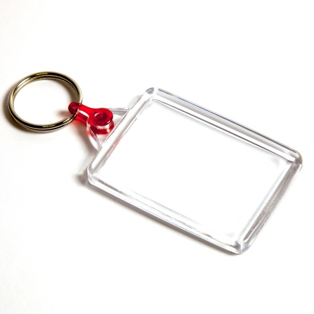C102-CS Rectangular Blank Plastic Cross Stitch Insert Keyring with Red Connector - 50 x 35mm