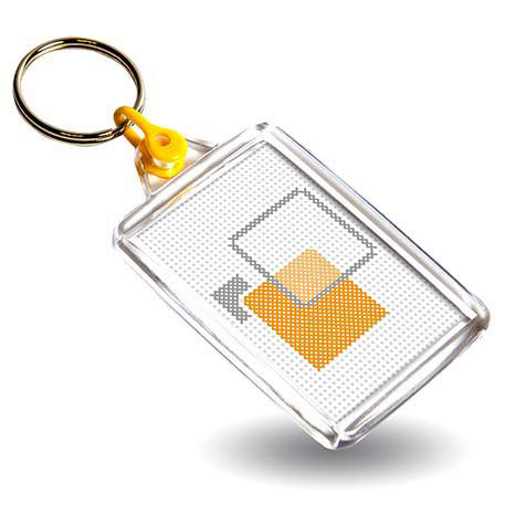 C102-CS Rectangular Blank Plastic Cross Stitch Insert Keyring with Yellow Connector - 50 x 35mm