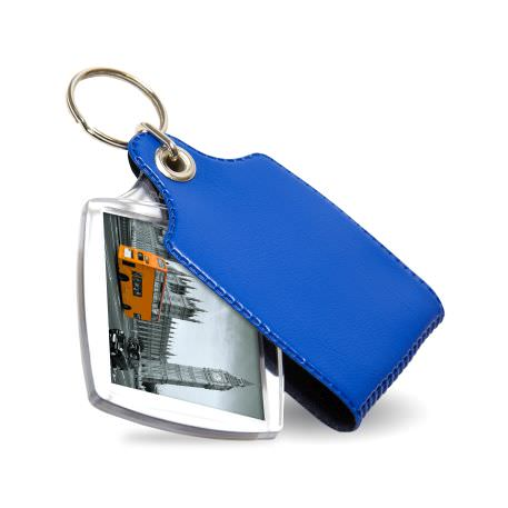 A2 Rectangular Blank Plastic Photo Insert Keyring with Blue Cover - 45 x 35mm
