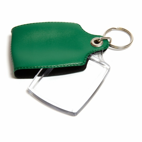 A2 Rectangular Blank Plastic Photo Insert Keyring with Green Cover - 45 x 35mm