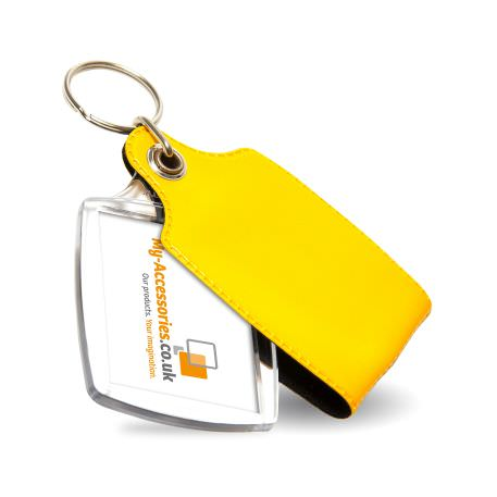 A2 Rectangular Blank Plastic Photo Insert Keyring with Yellow Cover - 45 x 35mm Thumbnail
