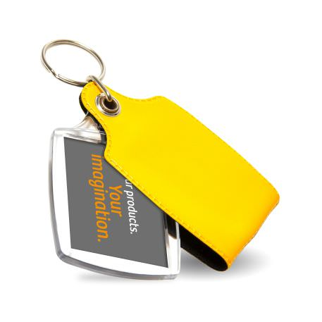 A2 Rectangular Blank Plastic Photo Insert Keyring with Yellow Cover - 45 x 35mm
