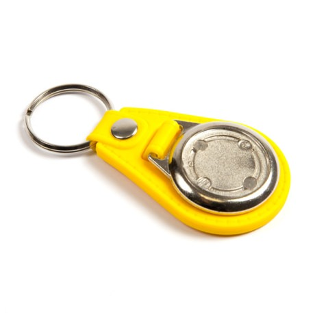MD25 Round Blank Yellow Medallion PU Leather Photo Insert Keyring - 25mm