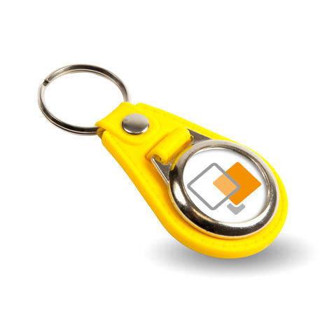 MD25 Round Blank Yellow Medallion PU Leather Photo Insert Keyring - 25mm Thumbnail