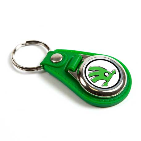 MD25 Round Blank Green Medallion PU Leather Photo Insert Keyring - 25mm
