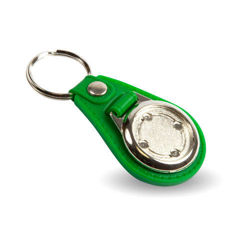 MD25 Round Blank Green Medallion PU Leather Photo Insert Keyring - 25mm Thumbnail