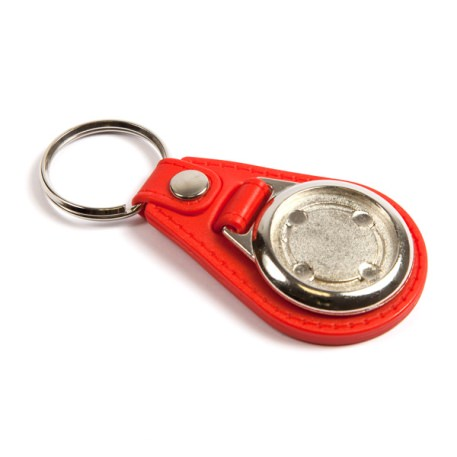 MD25 Round Blank Red Medallion PU Leather Photo Insert Keyring - 25mm Thumbnail