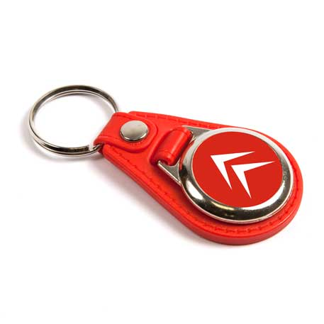 MD25 Round Blank Red Medallion PU Leather Photo Insert Keyring - 25mm
