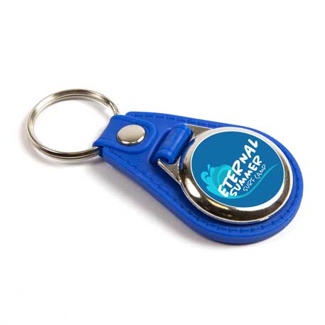 MD25 Round Blank Blue Medallion PU Leather Photo Insert Keyring - 25mm