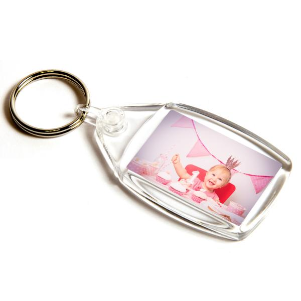 P502 Rectangular Blank Plastic Photo Insert Keyring with Clear Connector - 35 x 24mm