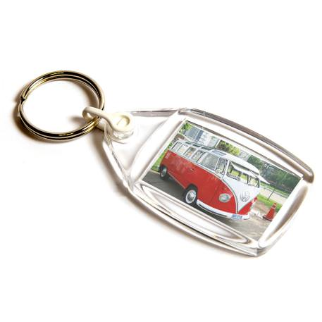P502 Rectangular Blank Plastic Photo Insert Keyring with White Connector - 35 x 24mm