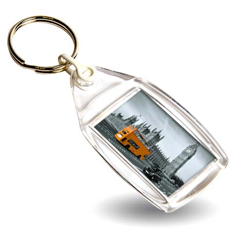 P502 Rectangular Blank Plastic Photo Insert Keyring with White Connector - 35 x 24mm Thumbnail