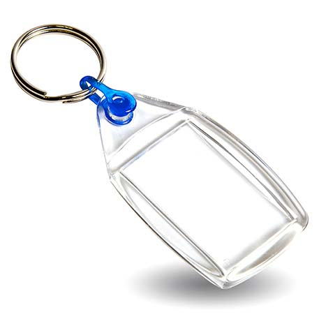 P502 Rectangular Blank Plastic Photo Insert Keyring with Blue Connector - 35 x 24mm Thumbnail
