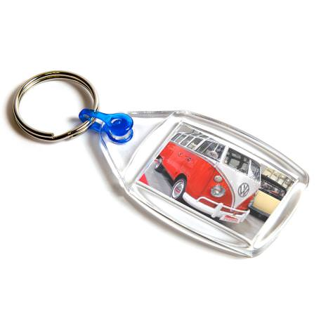P502 Rectangular Blank Plastic Photo Insert Keyring with Blue Connector - 35 x 24mm
