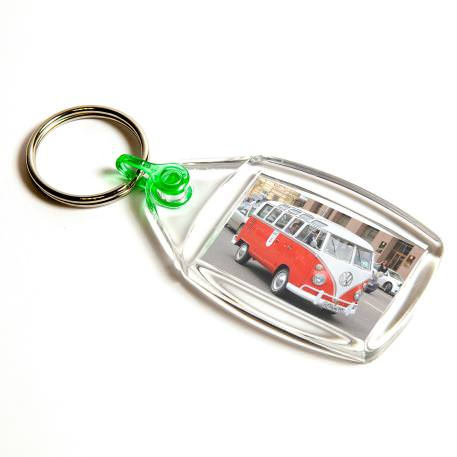 P502 Rectangular Blank Plastic Photo Insert Keyring with Green Connector - 35 x 24mm