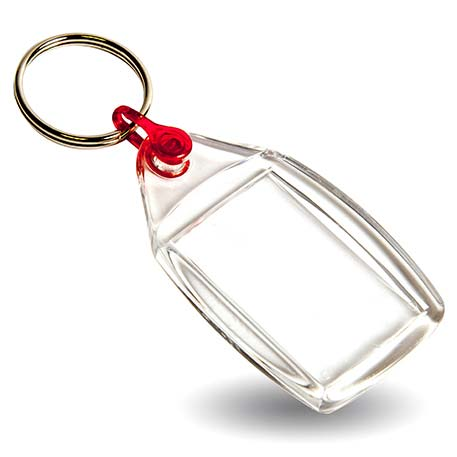 P502 Rectangular Blank Plastic Photo Insert Keyring with Red Connector - 35 x 24mm Thumbnail