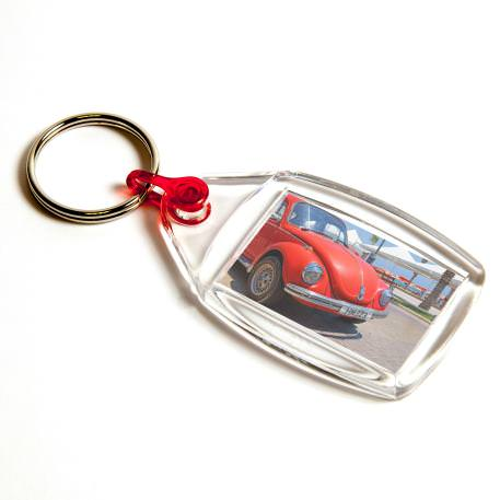 P502 Rectangular Blank Plastic Photo Insert Keyring with Red Connector - 35 x 24mm