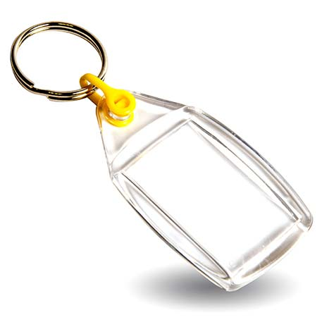 P502 Rectangular Blank Plastic Photo Insert Keyring with Yellow Connector - 35 x 24mm Thumbnail