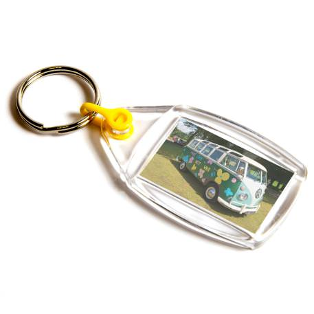 P502 Rectangular Blank Plastic Photo Insert Keyring with Yellow Connector - 35 x 24mm