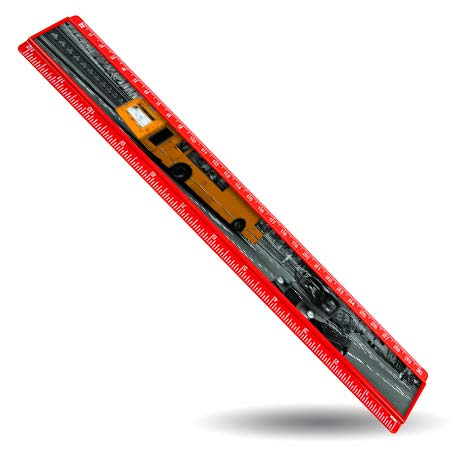 T12 Blank 12in Ruler Coloured - Red