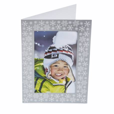 Pack of 6 Blank Silver Photo Insert Christmas Greeting Cards 152 x 102mm (6 x 4 inch photo)  Thumbnail
