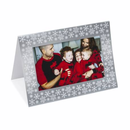 Pack of 6 Blank Silver Photo Insert Christmas Greeting Cards 152 x 102mm (6 x 4 inch photo)