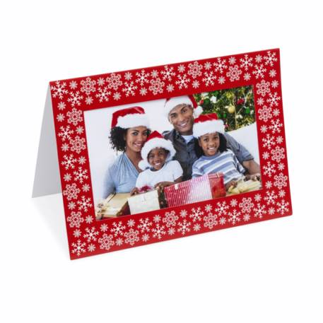 Pack of 6 Blank Red & Silver Photo Insert  Christmas Greeting Cards 152 x 102mm (6 x 4 inch photo)  Thumbnail