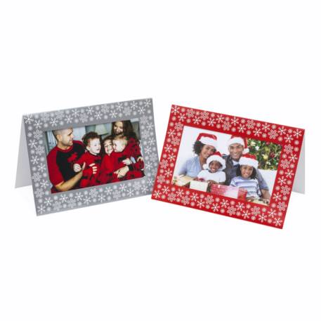 Pack of 6 Blank Red & Silver Photo Insert  Christmas Greeting Cards 152mm x 102mm (6 x 4 inch photo)