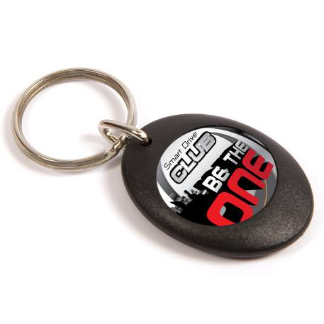 CR-ZD Black Round Blank Plastic Photo Insert Keyring - 25mm