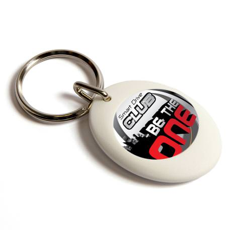 CR-ZD White Round Blank Plastic Photo Insert Keyring - 25mm