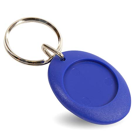 CR-ZD Blue Round Blank Plastic Photo Insert Keyring - 25mm Thumbnail