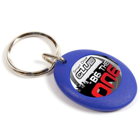 CR-ZD Blue Round Blank Plastic Photo Insert Keyring - 25mm