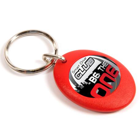 CR-ZD Red Round Blank Plastic Photo Insert Keyring - 25mm