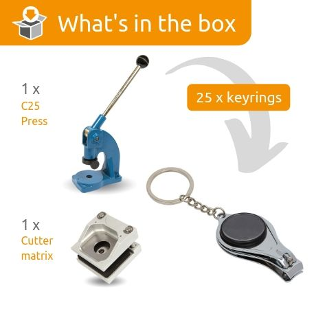 MULTI3-BLACK STARTER PACK. Includes Machine, Cutter, Assembly Tool and 25 FREE Keyrings