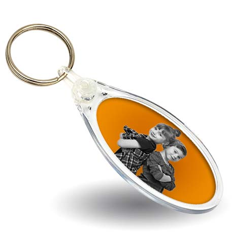 50 x 25mm Oval Blank Plastic Photo Insert Keyring (IE02)
