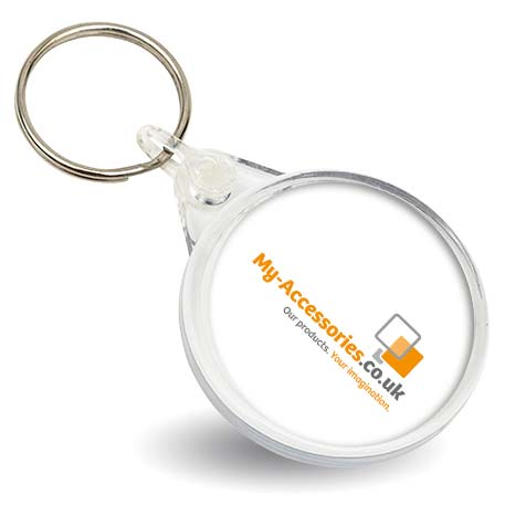 38mm Round Blank Plastic Photo Insert Keyring (IR02)