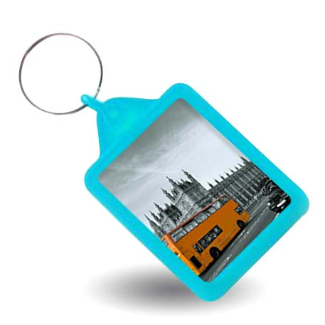 Rectangular Blank Turquoise Soft Touch Passport Photo Insert Keyring - 45 x 35mm (A503-TURQUOISE)