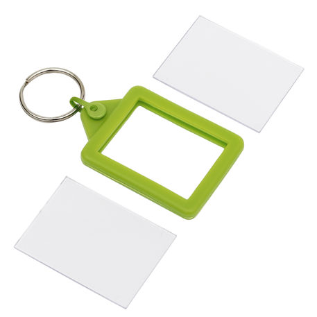 Rectangular Blank Lime Soft Touch Passport Photo Insert Keyring - 45 x 35mm (A503-LIME) Thumbnail