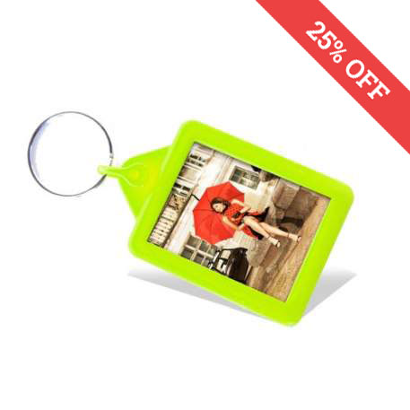 Rectangular Blank Lime Soft Touch Passport Photo Insert Keyring - 45 x 35mm (A503-LIME)