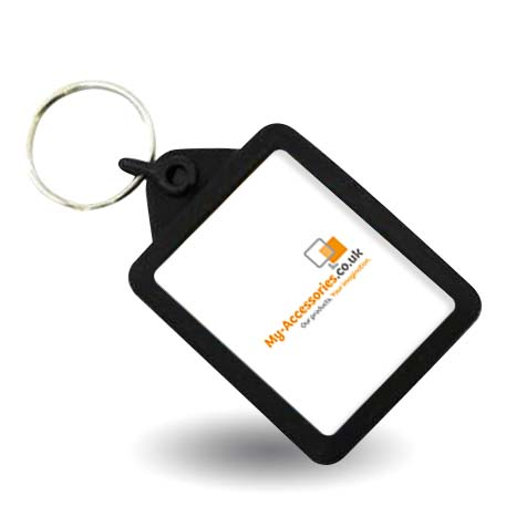 Rectangular Blank Black Soft Touch Passport Photo Insert Keyring - 45 x 35mm (A503-BLACK)