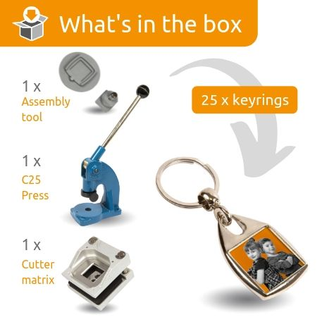 MF-25D STARTER PACK. Includes Machine, Cutter, Assembly Tool and 25 FREE Keyrings
