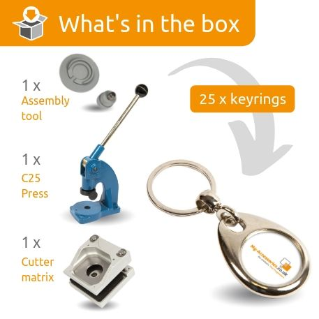 MH-25D STARTER PACK. Includes Machine, Cutter, Assembly Tool and 25 FREE Keyrings