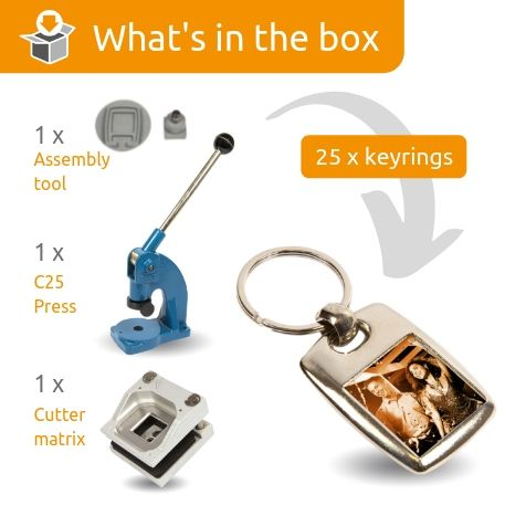 MK-25D STARTER PACK. Includes Machine, Cutter, Assembly Tool and 25 FREE Keyrings