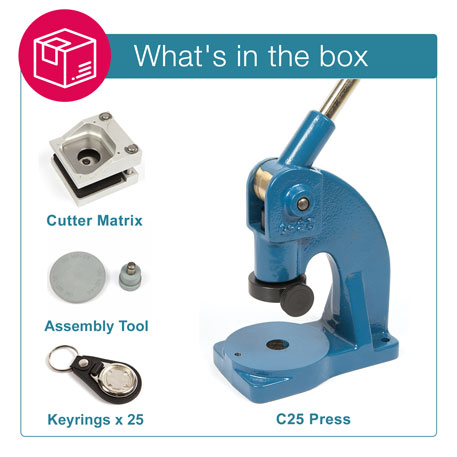 MD25-BLACK STARTER PACK. Includes Machine, Cutter, Assembly Tool and 25 FREE Keyrings