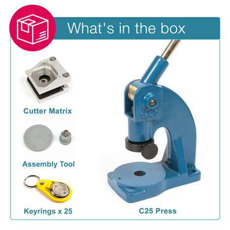 MD25-YELLOW STARTER PACK. Includes Machine, Cutter, Assembly Tool and 25 FREE Keyrings